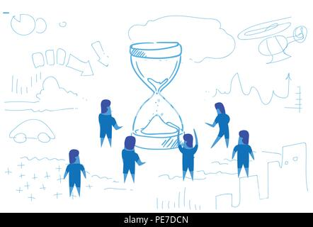 business people standing at sand clock time management concept teamwork brainstorming strategy horizontal sketch doodle - Stock Photo
