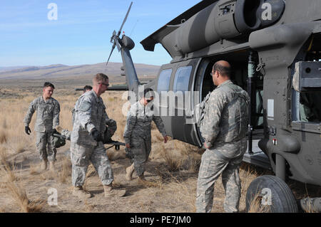 Medical personnel assigned to C Company, 2nd Brigade Support Battalion, 2-2 ID (SBCT) practice loading and unloading casualties for medical evacuation using a UH-60 Black Hawk helicopter during a MASCAL drill at Yakima Training Center, Wash., Oct. 14, 2015. - Stock Photo