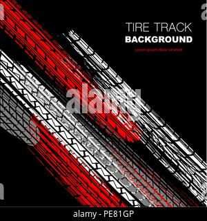Black background with white, red and gray tire track silhouettes - Stock Photo