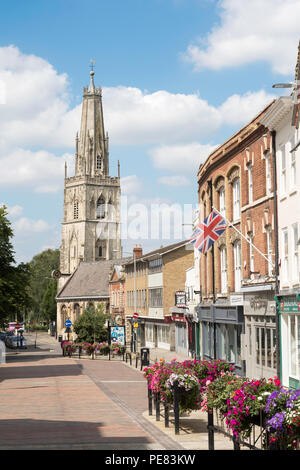 Gloucester city centre, Westgate St, with the church of St Nicholas, Gloucestershire, England, UK - Stock Photo