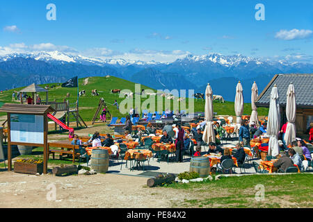 Tourists at a alpine pasture on Monte Baldo, Malcesine, Lake Garda, province Verona, Lombardy, Italy - Stock Photo