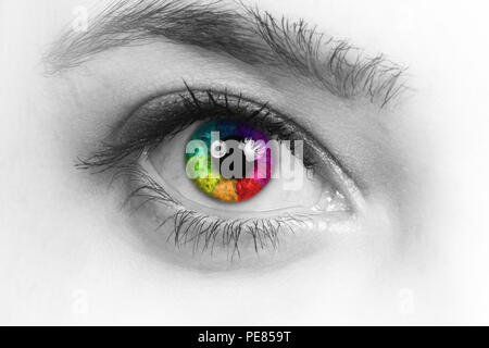 Girl colorful and natural rainbow eye on white background. - Stock Photo