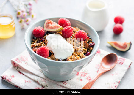 Homemade crunchy granola with yogurt and fruits in bowl. Healthy breakfast, healthy eating concept - Stock Photo