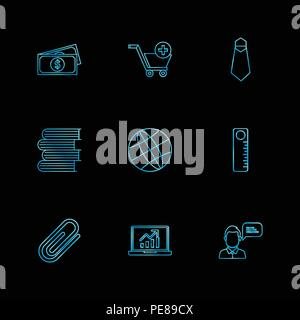money , cart , tie , books , globe , scale , pin , laptop , icon, vector, design,  flat,  collection, style, creative,  icons - Stock Photo