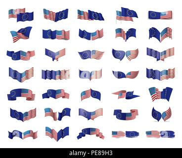 European Union and American flags. Vector illustration. - Stock Photo