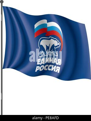 Flag with the inscription United Russia. Vector illustration on white background - Stock Photo