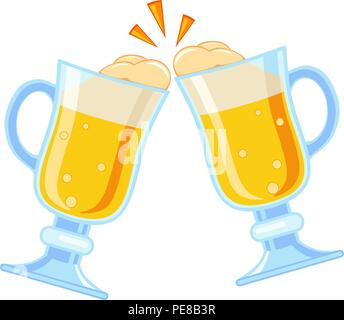 Colorful cartoon two fancy beer glass - Stock Photo