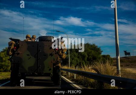 Marines with 4th Light Armored Reconnaissance Battalion, 4th Marine Division, drive through the Spanish countryside as they convoy to Alvarez de Sotomayor during exercise Trident Juncture, October 25, 2015. More than 5,000 U.S. service members joined over 36,000 troops from other allied nations get to demonstrate their ability to work together as a global response force. - Stock Photo