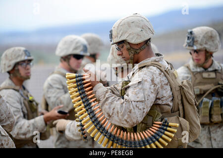 U.S. Marines assigned to Fleet Anti-terrorism Security Team (FAST) participate in a weapons training exercise in the mountains on the Spanish Base Alvarez de Sotomayor, Almeria, Spain on Oct. 27. This training exercise was part of NATO led Exercise Trident Juncture 2015 which includes more than 30 nations and 36,000 service members from 230+ units. (U.S. Army photo by Visual Information Specialist Jason Johnston/Released) - Stock Photo