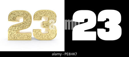 Golden number twenty three (number 23) on white background with drop shadow and alpha channel. 3D illustration. - Stock Photo
