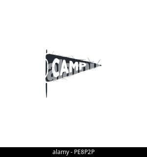 Camp pennant ison. Silhouette design. Vintage hand drawn badge. Stock vector isolated on white background - Stock Photo