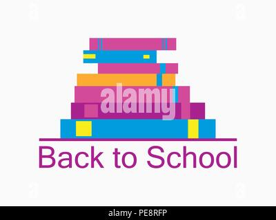 Back to school background with books. Bookshelf, textbooks are isolated on white background. School supplies icons. . Vector illustration - Stock Photo