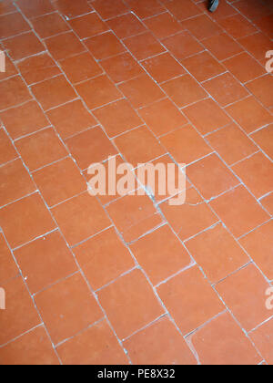 red antique floor tiles in a large french house stock photo - Antique Floor Tiles