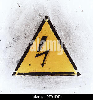Yelloy Danger Sign on White Weathered Background, Old Metal Textured - Stock Photo