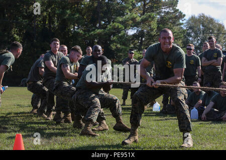 Marines with 8th Communication Battalion compete in a round of tug-of-war during a field meet at Camp Lejeune, N.C., Nov. 6, 2015. 8th Comm. Bn. provides the unique ability to deploy task-organized communication detachments capable of installing, operating, maintaining and defending communication networks in support of II Marine Expeditionary Force. (U.S. Marine Corps photo by Cpl. Paul S. Martinez/Released) - Stock Photo