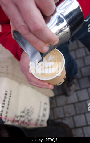 Coffee being served at Abergavenny food festival - Stock Photo