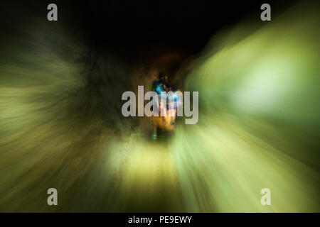 Long exposure photograph with intentional camera movement walking through a tunnel between Valle Grande and Valle Seco in Anaga, Tenerife, Canary Isla - Stock Photo