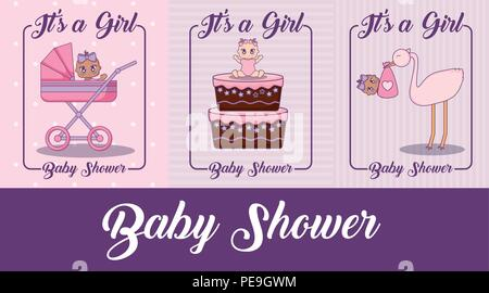baby shower design with cute baby girls and stork over colorful background, vector illustration - Stock Photo