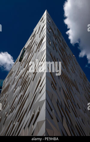 Modern architecture of the Titanic Belfast museum in Northern Ireland - Stock Photo