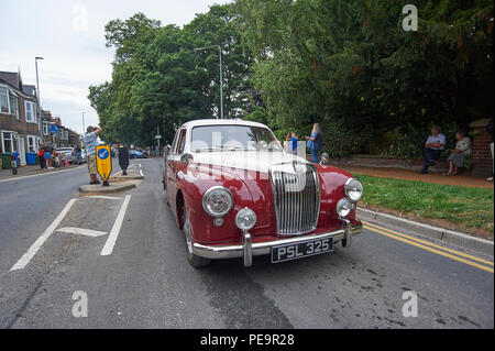 1957 MG Magnette ZB Sports Saloon car on a vintage rally road run. - Stock Photo