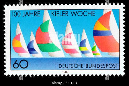 German postage stamp (1982) : 100 years of Kieler Woche - Kiel Week / Kiel Regatta - Stock Photo