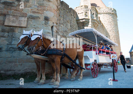 tourists on a carriage with Horses tour in carcassonne, france. - Stock Photo