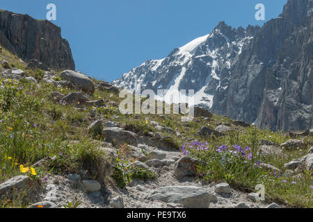 View of the mountainous landscape and scenery in Ala Archa National Park, a popular hiking destination near Bishkek, Kyrgyzstan. - Stock Photo