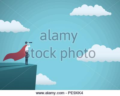 Businessman dressed as superhero vector concept. Businessman with cape and telescope standing on cliff. Symbol of power, strength, leadership, success - Stock Photo