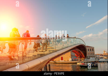 Calatrava bridge in glass that connects the Venice station - Stock Photo