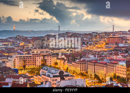 Lisbon, Portugal City Skyline over the Baixa district at dusk. - Stock Photo