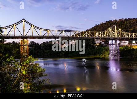 Aldo Pereira de Andrade Bridge (Iron Bridge). Blumenau, Santa Catarina, Brazil. - Stock Photo