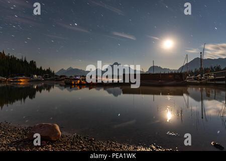 Colter Bay Marina, in Grand Teton National Park, by moonlight. Long exposure. - Stock Photo