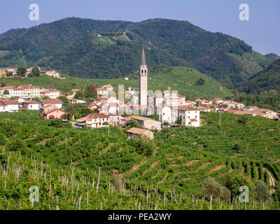 Guia village in the municipality of Valdobbiadene, prosecco sparkling wine vineyards and production zone - Stock Photo