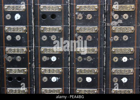 Antique bank vault safety deposit boxes at Architectural Artifacts in Chicago, Illinois. - Stock Photo