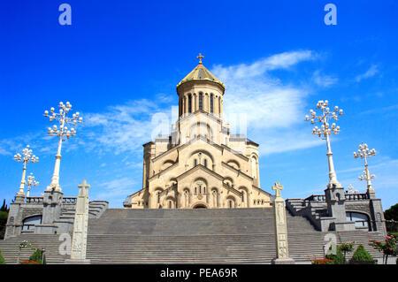 Georgian Orthodox Church the Holy Trinity Cathedral (Tsminda Sameba Church) in Tbilisi, Georgia - Stock Photo