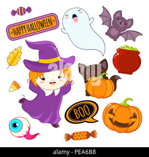 Set of cute Halloween characters and ornaments - girl in a witch costume, ghost, black cat, bat, evil eye, pumpkin, pot of potion, candy, sticker with - Stock Photo