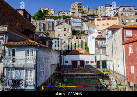 Old town Porto street decorated for Popular Saints Festival - Stock Photo