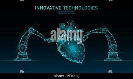 Robotic heart surgery low poly. Polygonal cardiology surgery procedure. Robot arm manipulator. Modern innovative medicine science automation technology. Triangle 3D render shape vector illustration - Stock Photo