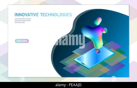 3D-enabled display smartphone concept. Stereoscopic output view isometric 3D flat business mobile phone innovation technology. Web touch screen modern camera parallax effect vector illustration - Stock Photo