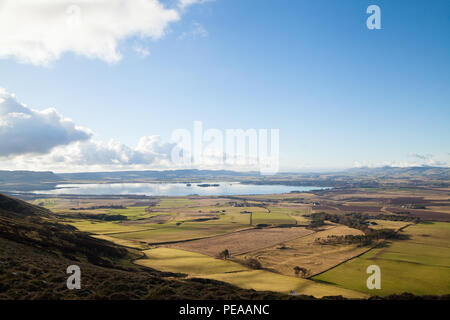 Looking down on Loch Leven from Bishop Hill Fife Scotland - Stock Photo