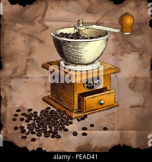 Coffee mill. Hand drawn illustration. - Stock Photo