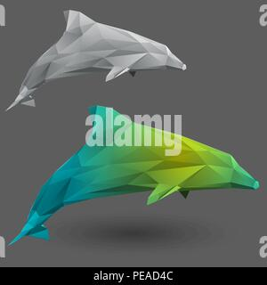 Dolphin from triangles - Stock Photo