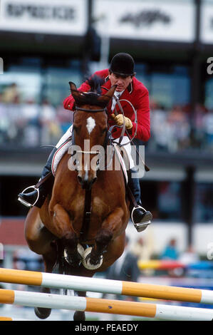 CSIO Masters, Spruce Meadows, September 2003, Gerardo Tazzer (MEX) riding Absolute - Stock Photo