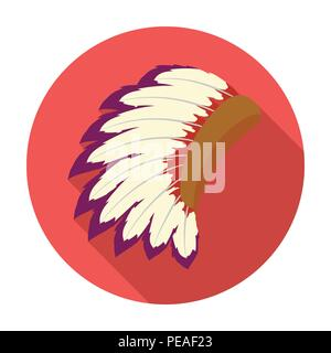 War bonnet icon in flat style isolated on white background. USA country symbol vector illustration. - Stock Photo