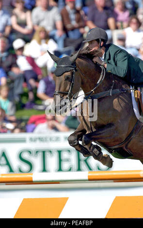 CSIO Masters, Spruce Meadows, September 2000, Billy Twomey (IRE) riding Hilton - Stock Photo