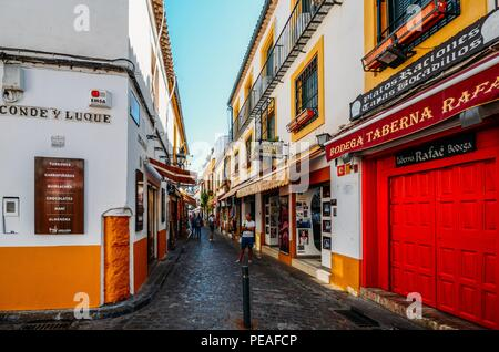 Cordoba, Spain - Jul 13, 2018: The Jewish Quarter is the best-known part of Cordoba's historic center, which was declared a World Heritage Site by UNE - Stock Photo