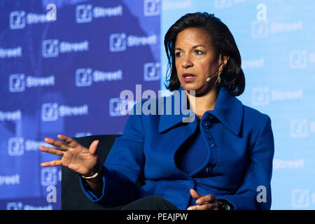Ambassador Susan Rice, former National Security Advisor to President Barack Obama, speaking at the J Street National Conference in Washington, DC on A - Stock Photo