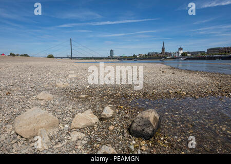 The river Rhine near Dusseldorf, extreme low tide, Rhine level at 84 cm, after the long drought falls the left bank of the Rhine, dry at Dusseldorf Ob - Stock Photo