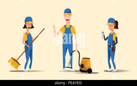 Cleaning service staff smiling cartoon characters isolated on yellow background. Men and women dressed in uniform vector illustration in a flat style - Stock Photo