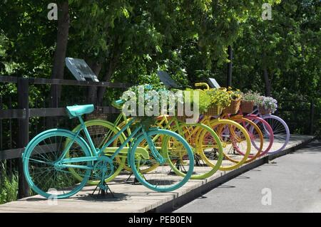 Bicycles on display in St. Polycarpe Quebec - Stock Photo